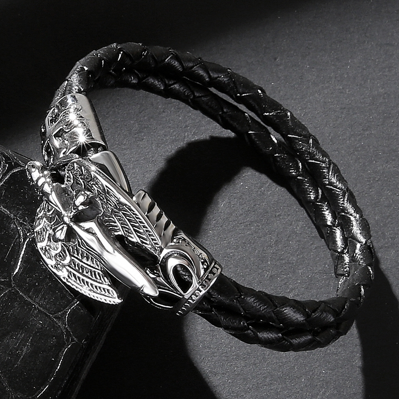 Fashion jewelry men retro black lap leather bracelet titanium steel cross brace bracelet leather knit high quality bracelets