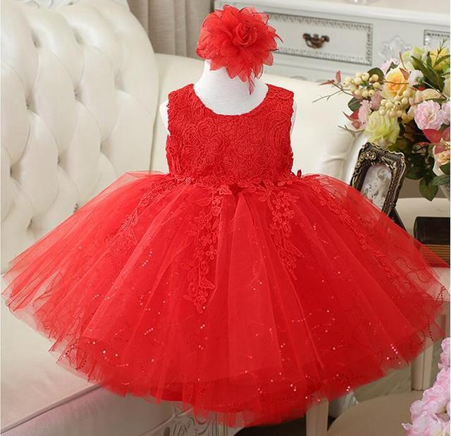 Sequin Baby Girl Clothes Weddings Pageant White/Red/Pink First Holy Bow Lace First Communion Dress Baby 1 year Birthday Dress