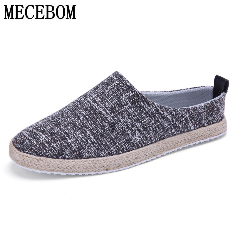New 2016 Men Canvas shoes slip on loafers fashion hemp high quality casual shoes light breathable plus size 39-45 Y13M