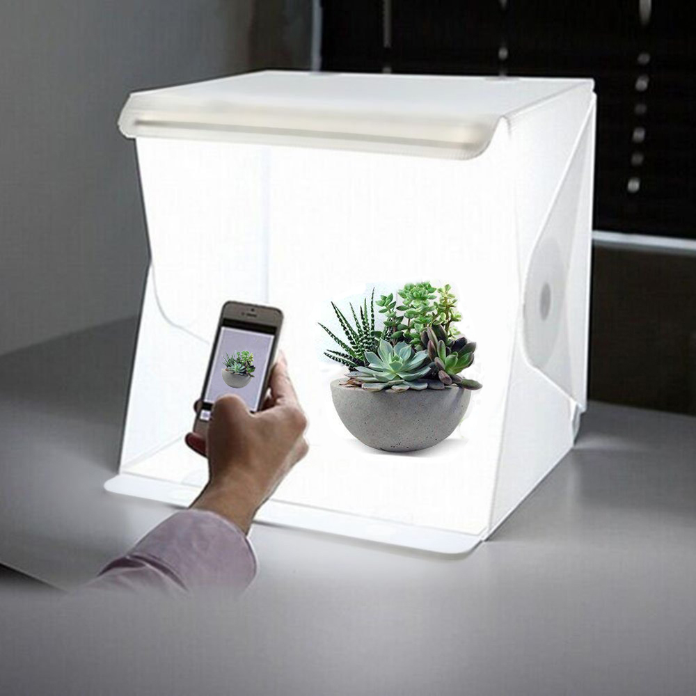 Mini imán plegable Lightbox estudio fotográfico Softbox LED luz suave caja para iPhone Samsang DSLR Cámara Foto fondo