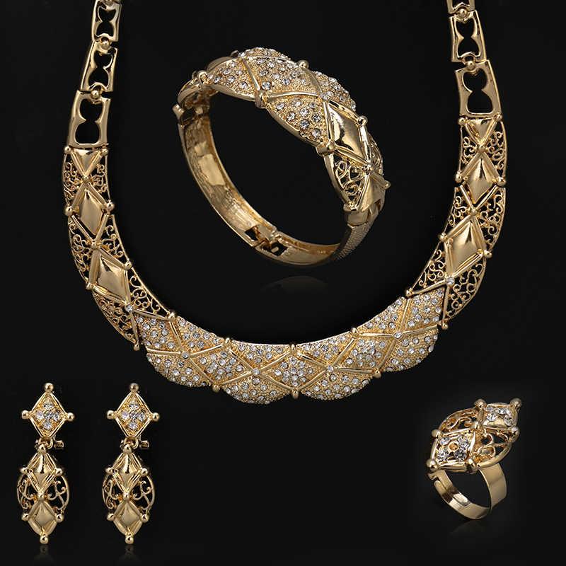 2018 תכשיטי חרוזים אפריקאים סט דובאי נשים של תכשיטי סט/אלגנטי כלה חתונה זהב-צבע שרשרת תכשיטים Sellingstyle