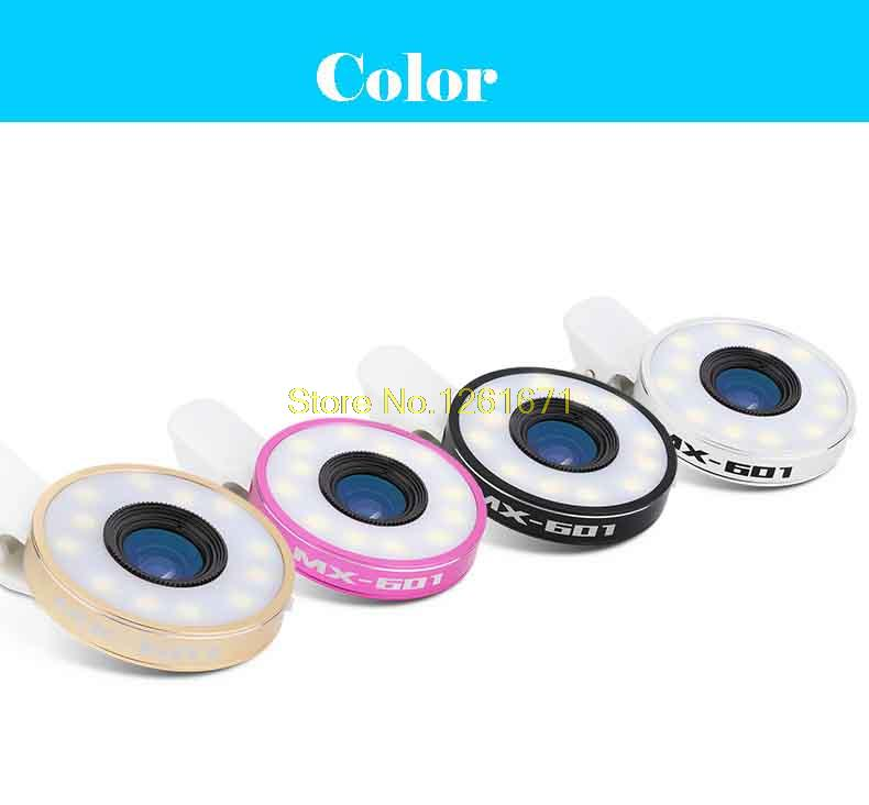 Fisheye Phone Camera Lens Kit LED Selfie Fill-in light + Macro + Wide Angle Lens for iPhone 7 7plus Samsung S8 S7 Universal V04 10