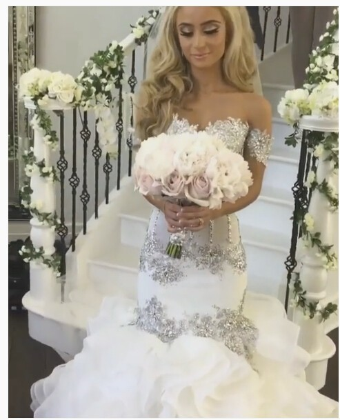 Luxury Sweetheart Beaded Lace Mermaid Wedding Dresses 2019 Off Shoulder Appliques Saudi Arabia Bridal Wedding Gowns Bride Dress