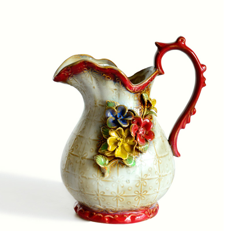 American rural household adornment ancient carve patterns designs ceramic vases Hydroponic Container Home Office Decor