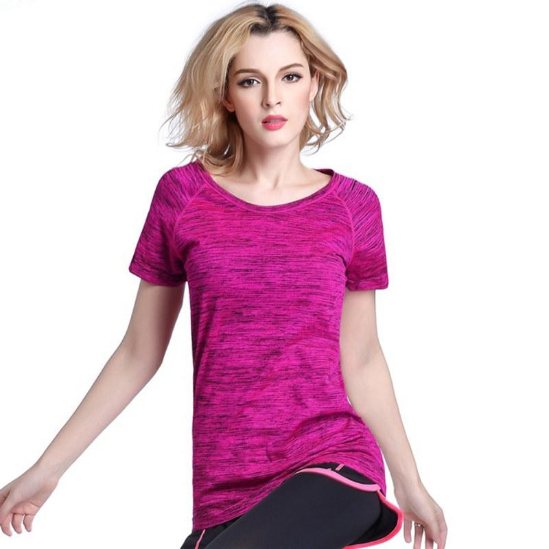 Rychlé suché profesionální dámské sportovní tričko pro jógu Fitness Běh běhání tělocvičně Teplo Prodyšné cvičení Krátké rukávy Tops
