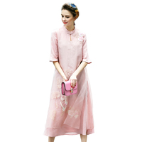 Chinese Style 100 Real Silk Lady Dress Light Blue Pink A Line Women Knee Length Real