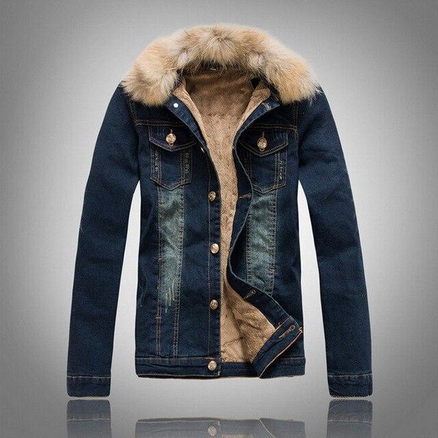Vxo Men Jacket Winter Korean Denim Jackets Lamb Feathers Men Slimmed