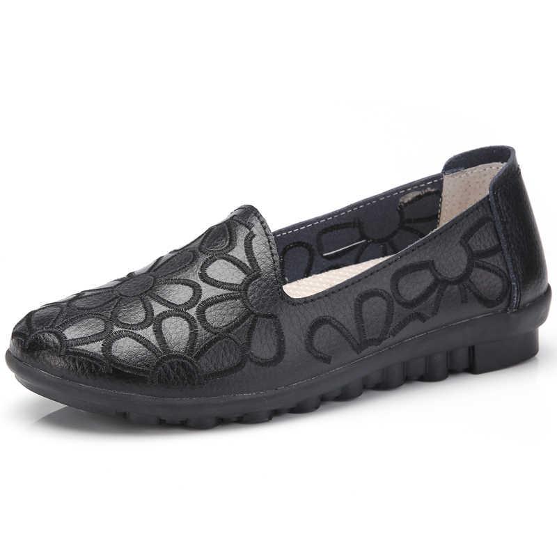 AARDIMI Vintage Hakiki Deri kadın Yassı Bahar Yaz Sığ Mokasen Femme hemşire ayakkabıları Espadrilles Kadın