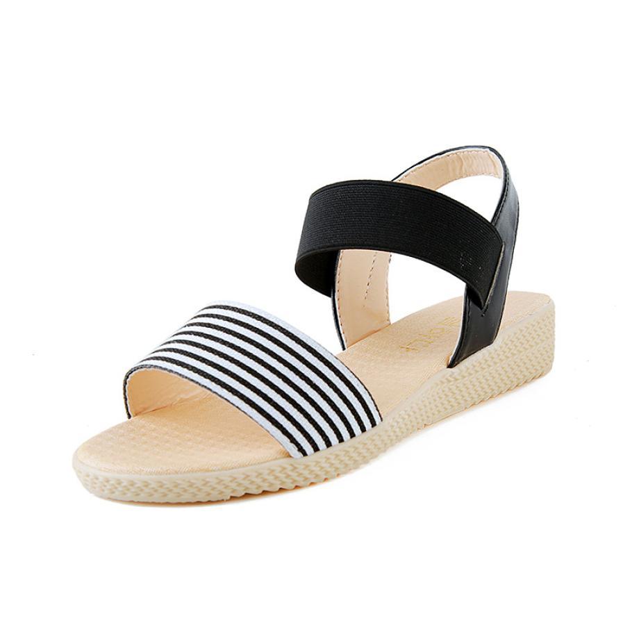 Fashion Women Flats Summer Hot Sale Sandals Female Stripe Flat Heel Anti Skidding Comfort Open Toe Beach Shoes Sandals Slippers 10