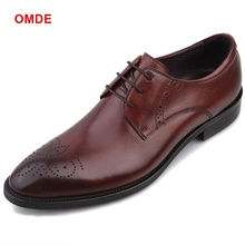 OMDE New Fashion Genuine Leather Shoes Men Shoe Luxury Pointed Toe Lace-up Dress Shoes Carved Business Formal Shoes цены онлайн