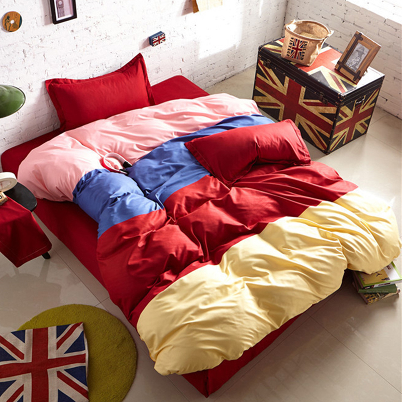 Mixed Color Matching 3/4 Pcs Bedding Sets Student Bedlinen 1.2m 1.5m 1.8m 2m Bed Sheet Queen Twin Double Single Size Duvet Cover Selling Well All Over The World Power Source
