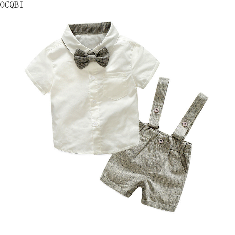 Summer autumn style baby boy clothing set newborn infant cotton clothing 2pcs short sleeve t-shirt + suspenders gentleman suit