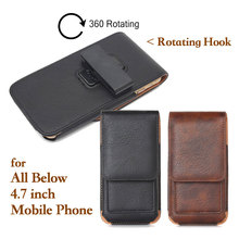 Business Style Mobile Phone Leather Bag Outdoor 360 Rotating Hook Loop Belt Pouch Case for iPhone