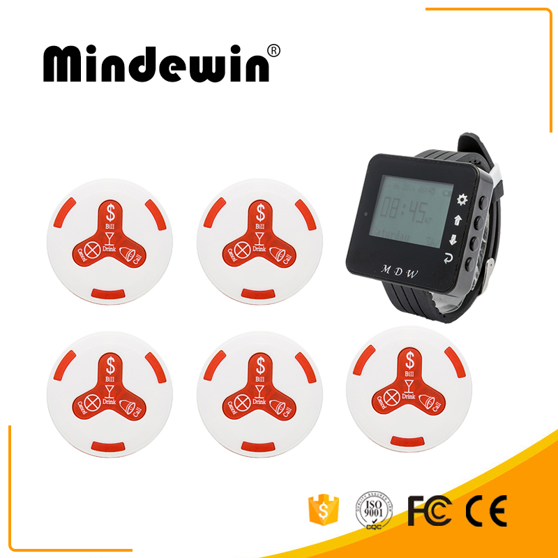 Mindewin 1pc Watch Wrist Receiver + 5pcs Call Button Pager Wireless Restaurant Pager Calling System Restaurant Call Equipment digital restaurant pager system display monitor with watch and table buzzer button ycall 2 display 1 watch 11 call button