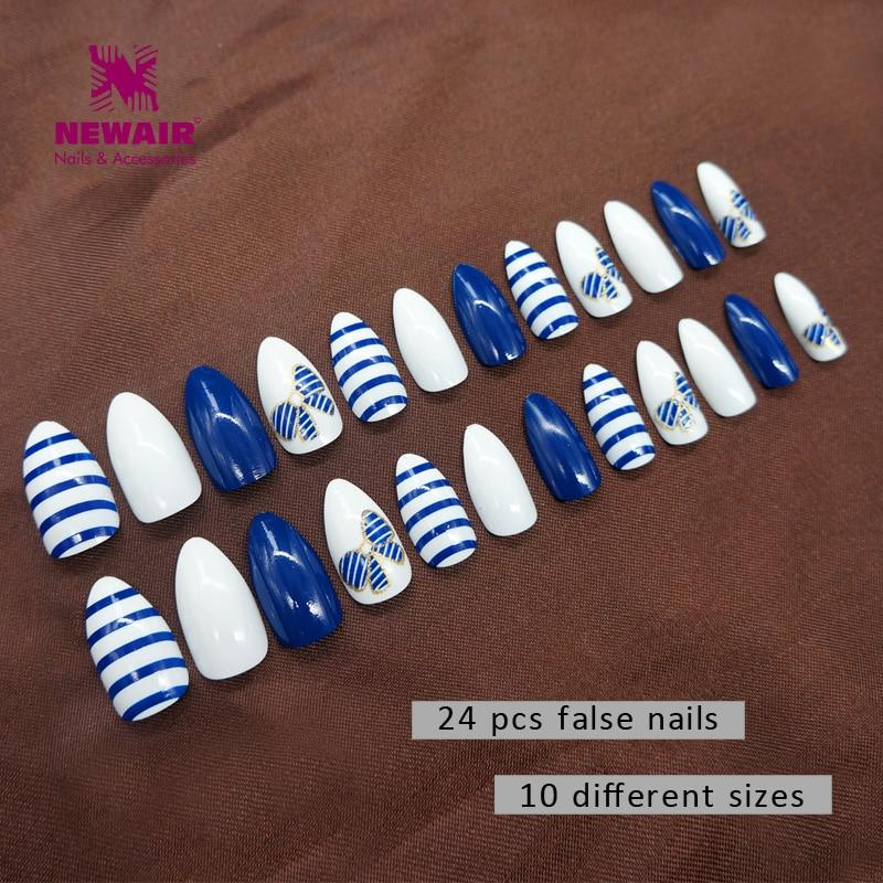 Nieuwe 24 stks Valse Stiletto Nagels Cover False Acryl Nagels Lange - Nagel kunst