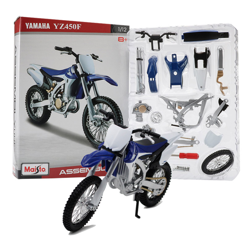 Maisto 1:12 assembly motorcycle model toy motorbike motocross building kits yamaha yz450f off road vehicle toys for children collection