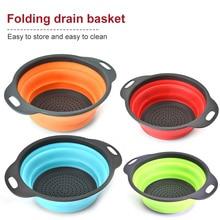 Silicone Colander Collapsible Gadget Drainer Washing-Basket Kitchen-Tools Vegetable Fruit
