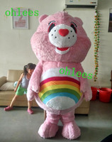 Ohlees custom made Actual real Picture pink care rainbow bear character mascot costume cartoon party christmas halloween Fancy