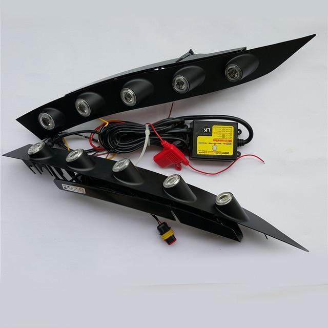 2x 자동차 전용 화이트 led drl 주간 러닝 ligh 프론트 안개 범퍼 램프 닛산 juke 2013 2012 2011