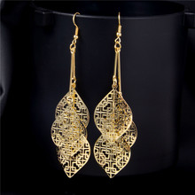 H:HYDE New Arrival Elegant Bohemian Vintage Leaves Dangle Earring Summer Style Gold/Silver Drop Earring Accessories For Women