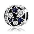 2017 Inverno DIY Encaixa Pulseiras de Pandora Jóias 100% 925 Sterling Silver Céu Aberto Contas Estrela Azul do Esmalte Encantos Com Clear CZ