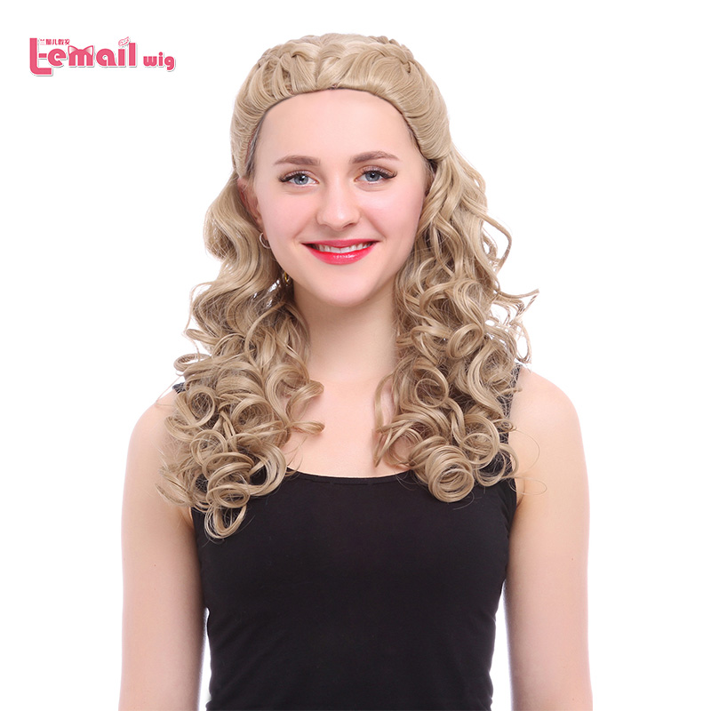 L-email wig 2016 New Movie Long Wavy Curly Light Brown Anime Princess Cinderella Wig Synthetic Hair Peruca Cosplay Wigs