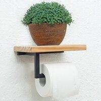 Paper Towel Holder Shelf Iron Pipe Wall Mount Paper Holder Rack Wood Shelf Bathroom Toilet Towel Tissue Paper Holder