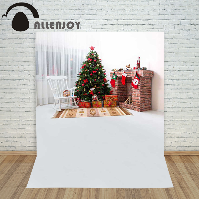 Allenjoy christmas tree photography backdrop xmas chair fireplace xmas stockings children's photo photographic Customize festive allenjoy christmas photography backdrop wooden fireplace xmas sock gift children s photocall photographic customize festive