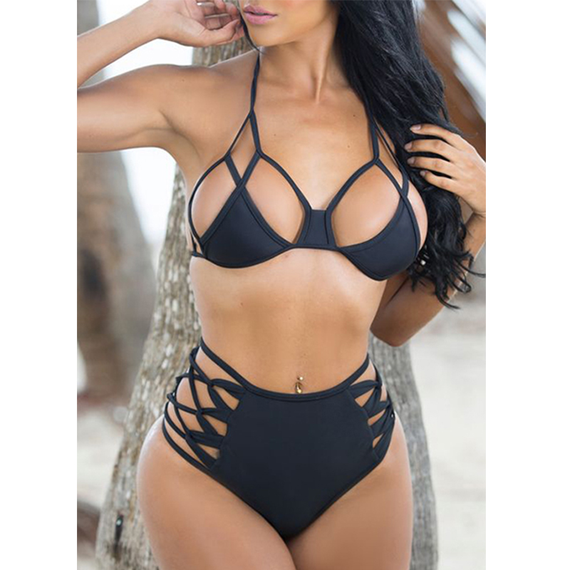 YICN Sexy Bikinis Set High Waist Hollowed Swimsuit Mature Women Black Bikinis 2018 Push Up Swimwear Bathing Suits Plus Size 3XL