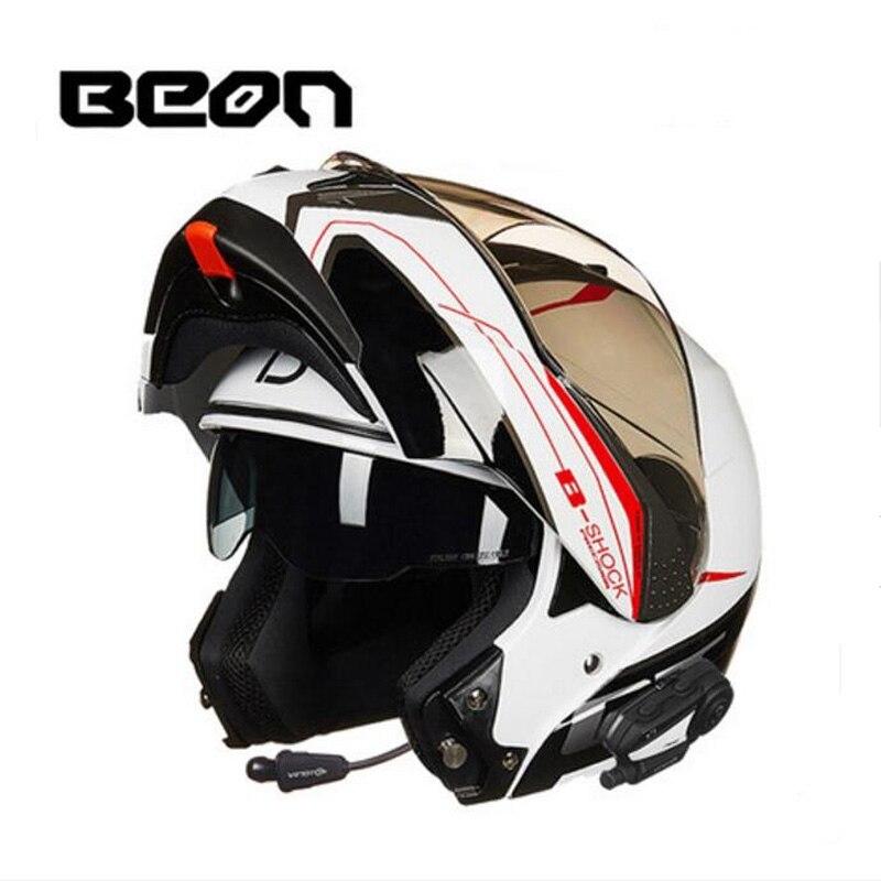 2018 Nova banda de Holanda BEON Flip undrape rosto motocicleta capacete ABS capacetes de moto com Bluetooth e PC lente viseira