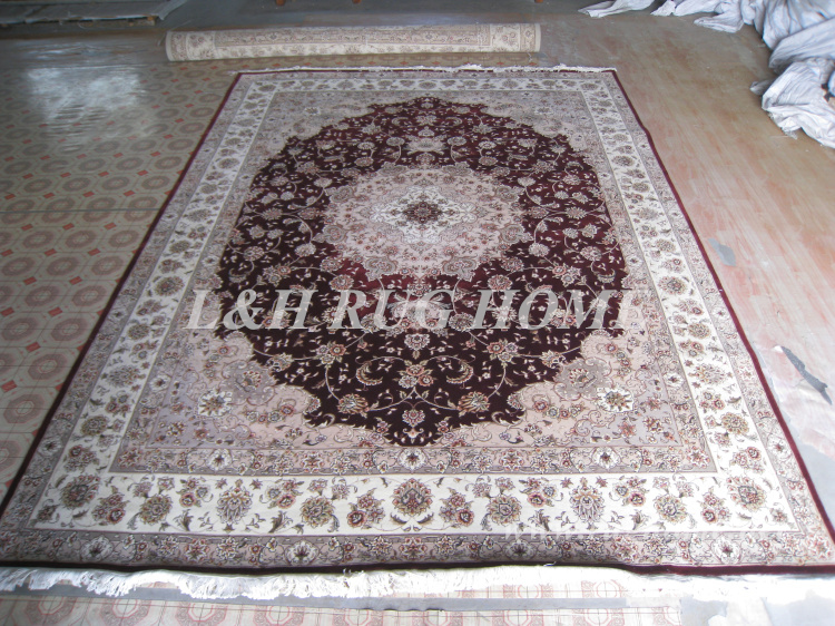 Free shipping 9'X12' 160 Line Hand-knotted  Wool and Silk Oriental - Home Textile