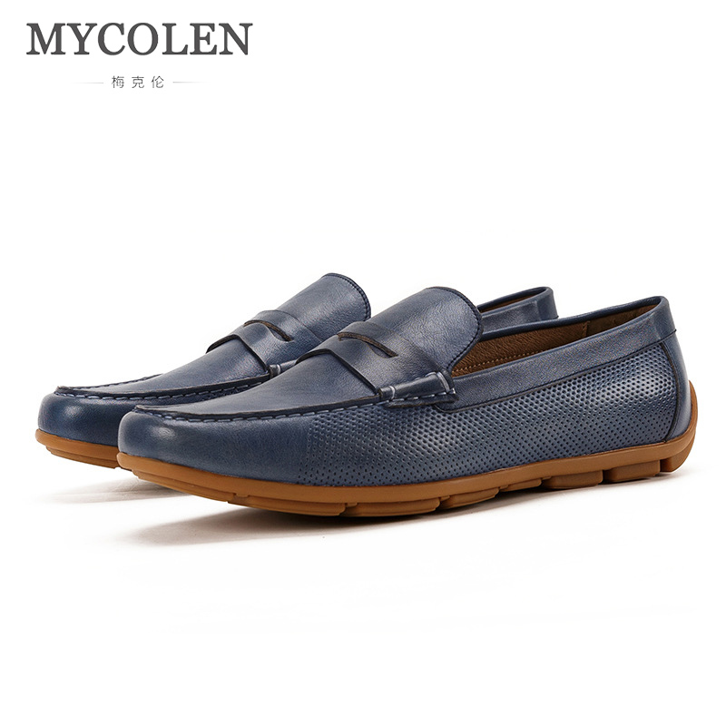 MYCOLEN 2018 Men Casual Shoes Luxury Fashion Fashion Men Shoes Leather Moccasins Slip On Men'S Flats Loafers Male Shoes genuine leather shoes fashion slip on men casual shoes designer male leather flats shoes loafers moccasins men shoes