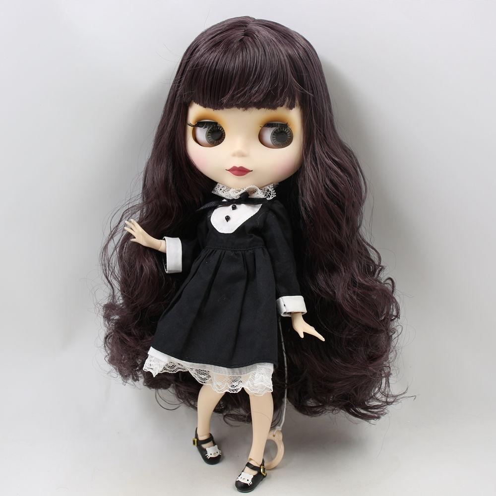 "12/"" Neo Blythe Doll from Factory Nude Doll Dark Grey Long Hair"