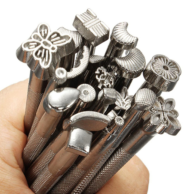 20pcs Alloy Leather Carving Costura Tool  Sewing Accessories DIY Leather Working Saddle Making Kits Carving Leather Craft Stamps
