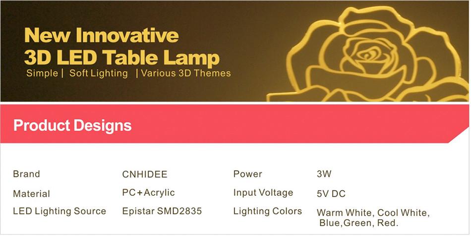 Novel USB Led Lights Loving Heart 3d Touch Home Decor Table Lamp (1)