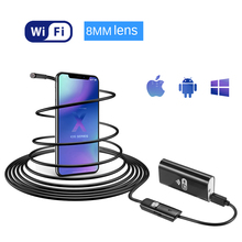 1/2/5m 8mm lens IP67 Waterproof Snake WIFI Endoscope Borescope Inspection Micro USB Camera Mini Camera For Android IOS 9mm 2in1 5m mini usb endoscope otg car 6 led borescope inspection security cctv android camera 2 0mp hd micro waterproof camera