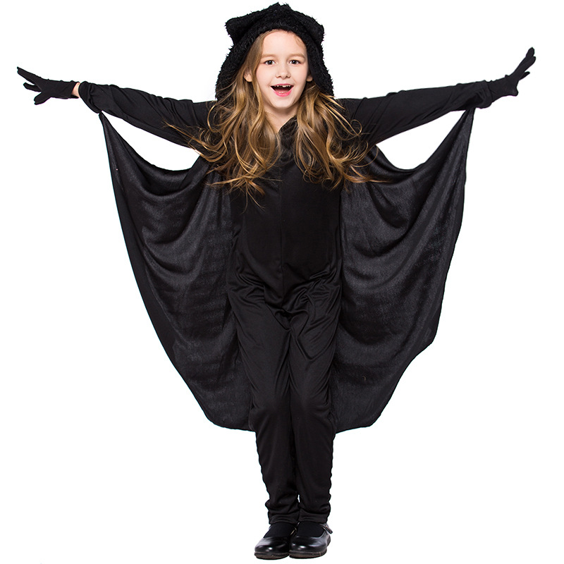 Детский костюм Бэтмена для костюмированной вечеринки с изображением животных; черный костюм летучей мыши для мальчиков и девочек на Хэллоу