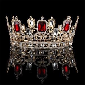 Image 2 - Vintage barroco azul cristal grande Tiaras y coronas boda joyería de pelo de Reina rey boda accesorios de la joyería