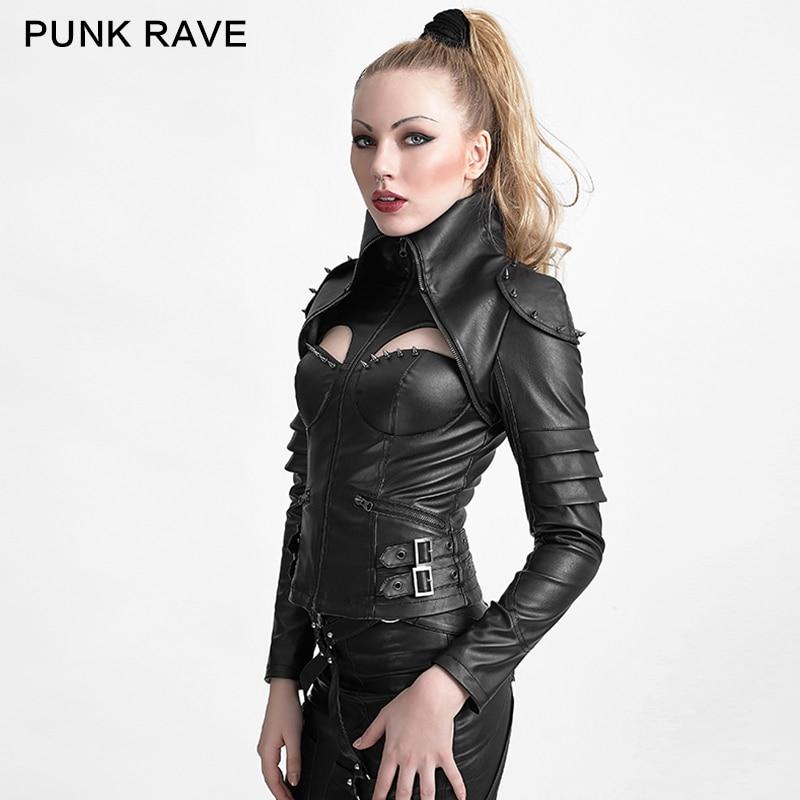 Punk Rave Punk Rivet Studded Sexy Woman High Collar Tight
