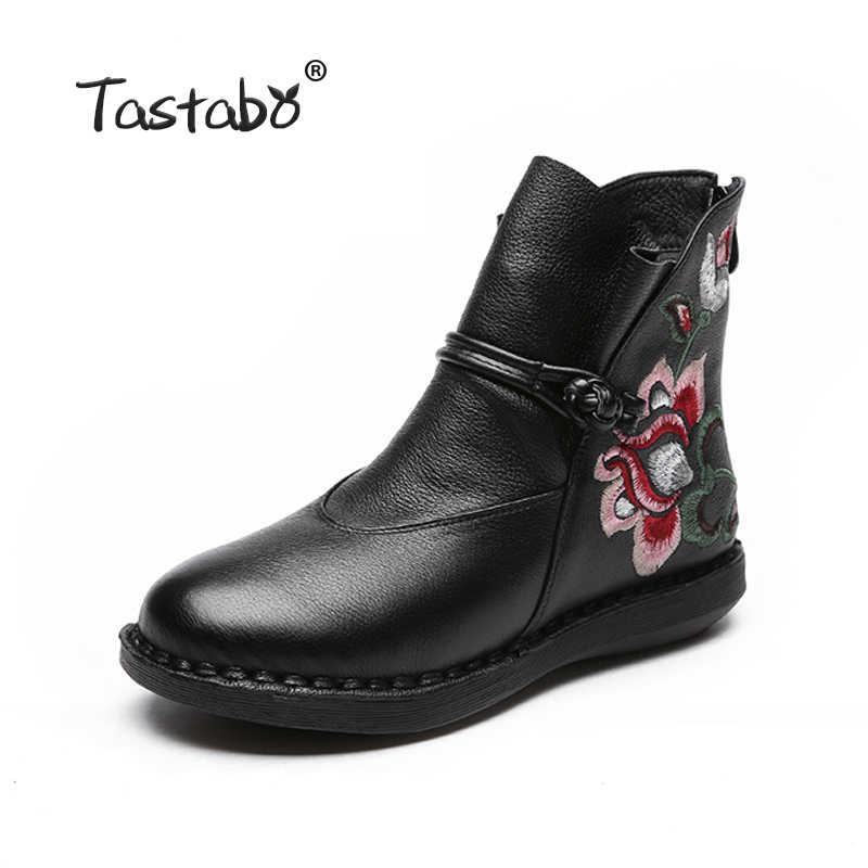 Tastabo Çiçek yarım çizmeler Kadınlar için Klasik Siyah Düz Hakiki deri ayakkabı Bayan Botları Rahat Yuvarlak Oyalamak Çizme