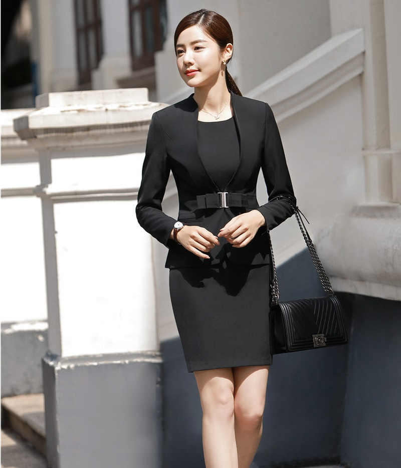 Fashion Khaki Slim Dress And Tops 2018 Autumn Winter Business Suits Blazers & Jackets Coat For Ladies Work Sets Uniforms Styles