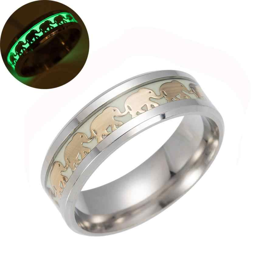 Luminous Elephant Ring Animal Pattern Decoration Women Bohemia Carving Rings Jewelry Gift 8.15