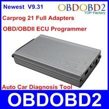 2015 con mejor Herramienta de Reparación de Automóviles Carprog V9.31 Nueva Versión Con 21 Adaptadores Para Radio, Odómetro, tablero de instrumentos, Inmovilizadores