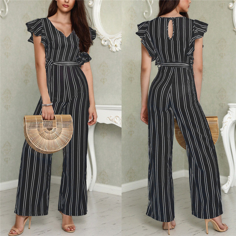 Women Striped Clubwear Playsuit Bodysuit Party Long Pants Jumpsuit Polyester Short Sleev ...