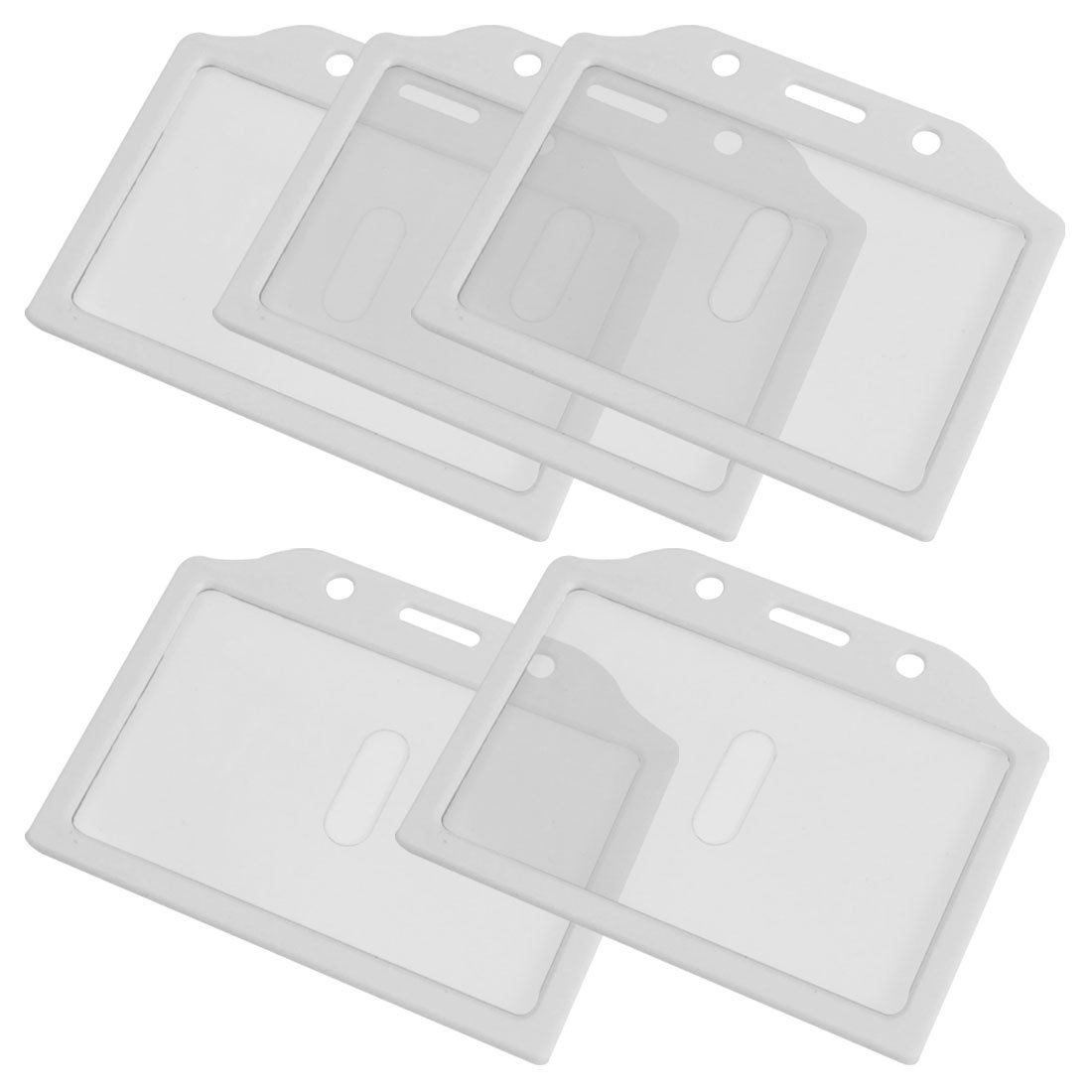 10pack (5PCS White Clear Plastic Business Badge Credit Card Holder Case for Students never leather badge holder business card holder neck lanyards for id cards waterproof antimagnetic card sets school supplies