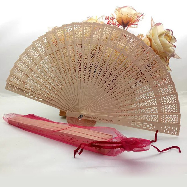 80pcs Lot Personalized Hand Fan Favor Chinese Wooden Folding Customized Wedding Party