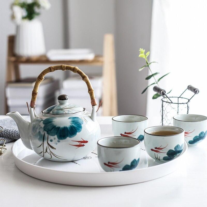 Juego de tetera de pez dorado de cerámica, taza de té, taza de agua, Juego de tetera de diseño de loto (4 tazas + 1 tetera)