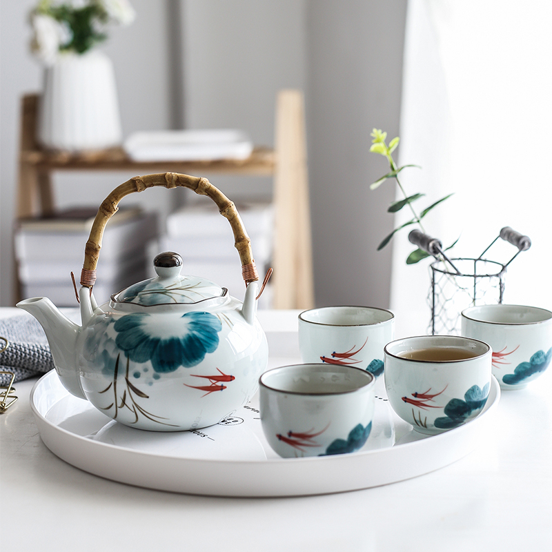 Set Of Ceramic Goldfish Tea Pot Tea Cup Water Cup Lotus Design Tea Kettle Teaware Set (4 Cups+1 Teapot)