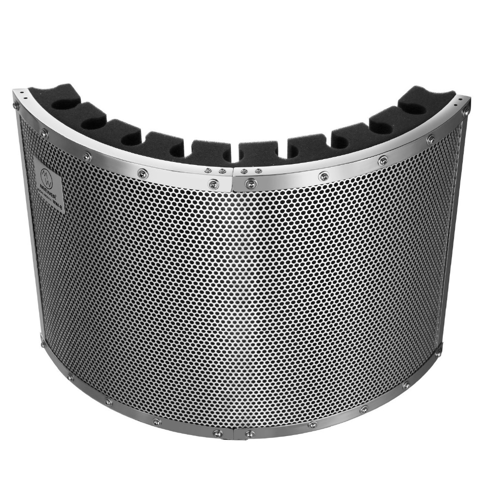 Neewer Portable Mic Acoustic Isolation Shield with Lightweight Metal Alloy,Acoustic Foams,Mounting Brackets,Screws for Mic Stand ned 25x25x16mm practical stainless steel corner brackets joint fastening right angle 2mm thickened home brackets with screws