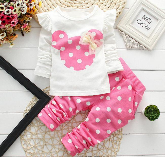 0bc2475035564 US $4.08 47% OFF 2018 New kids clothes girl baby long rabbit sleeve cotton  Minnie casual suits baby clothing retail children suits-in Clothing Sets ...
